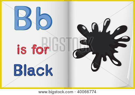 illustration of black color splash on a book on a white background