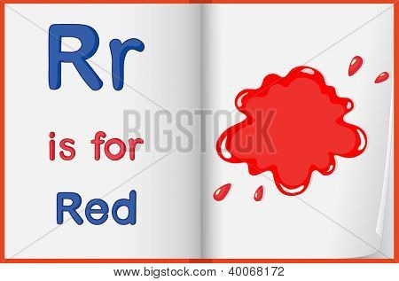 illustration of red color splash on a book on a white background