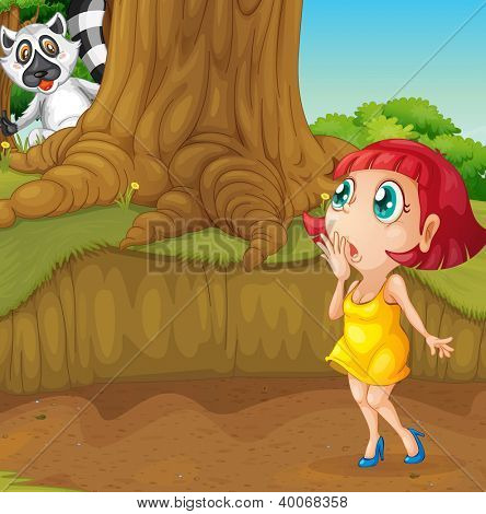 illustration of a girl and an animal in a beautiful nature