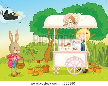 illustration of a girl and a cart stall in a beautiful nature