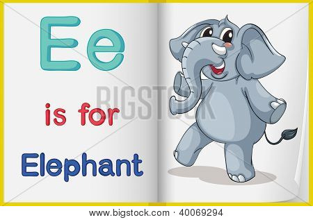 Illustration of the letter E in a book