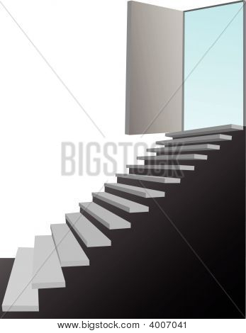 Stairs Lead Up To A Blue Sky Door On White