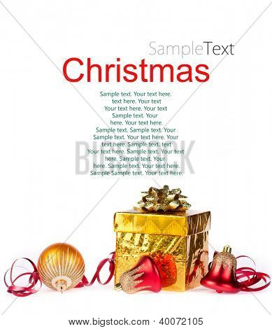 Gold gift and colorful decorations on a white background with sample text
