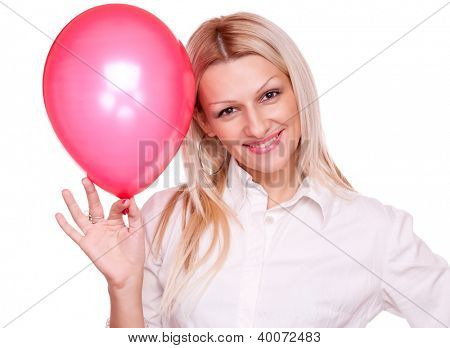 Attractive blonde holding red balloon, isolated on white (you can put your text on the balloon)