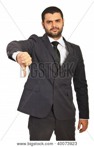 Unhappy Businessman Give Thumb Down