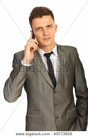 Upset Executive By Phone Mobile