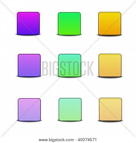 Colorful Bevel Styled Icon Set On White Background