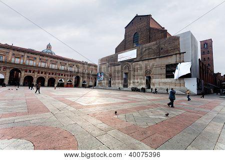 Piazza Maggiore With Palazzo Dei Banchi And Basilica Di San Petronio In Bologna