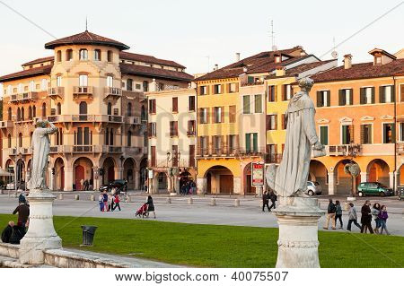 Houses On Prato Della Valle In Padua, Italy