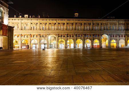 Palazzo Dei Banchi At Night, In Bologna