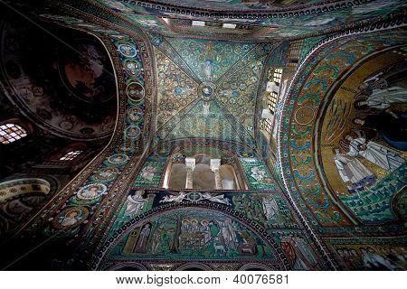 Dome Ceiling Mosaic In Basilica San Vitale In Ravenna