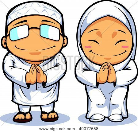 Cartoon Of Muslim Man & Woman