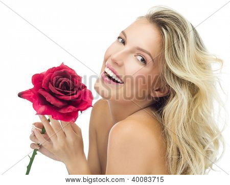 portrait of attractive  caucasian smiling woman blond isolated on white studio shot red rose lips toothy smile face long hair head and shoulders looking at camera