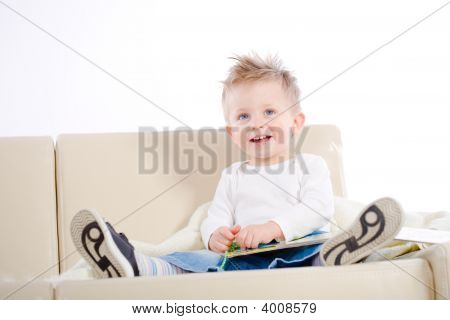 Baby Boy Reading Book