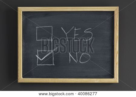 Yes And No Check Boxes Written On A Blackboard