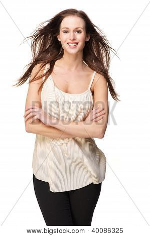 Beautiful Woman With Flowing Hair