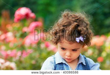 Sad Little Girle Outdoor
