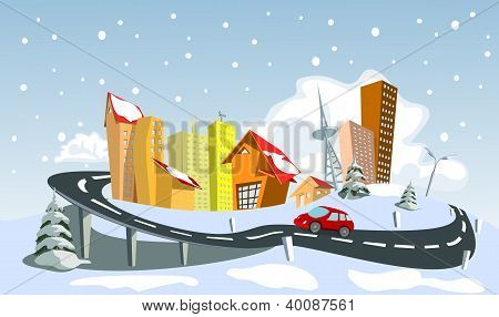 Colorful Winter Abstract Vector City