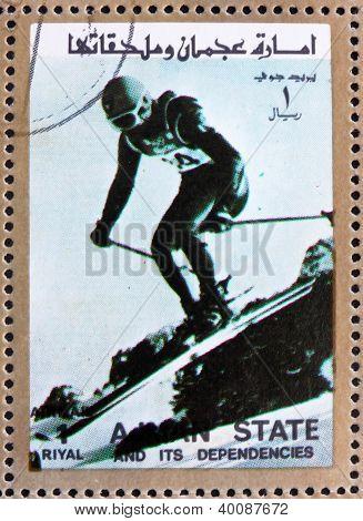 Postage Stamp Ajman 1973 Downhill Skiing, Winter Olympics