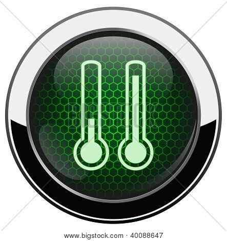 Metallic green honeycomb thermometer icon