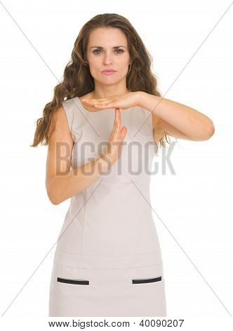 Concern Young Woman Showing Stop Gesture