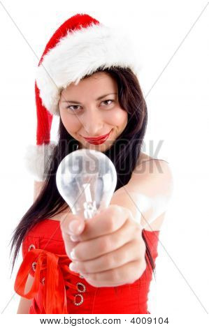 Pretty Young Female Holding Electric Bulb
