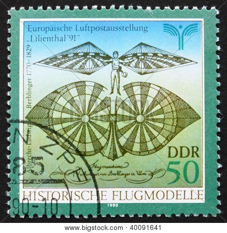 Postage Stamp Gdr 1990 Flying Machine By Albrecht Berblinger