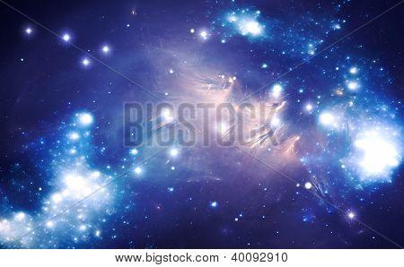Blue Space Star Nebula