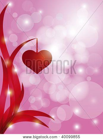 Corações pendurado na folha Bokeh de fundo