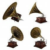 stock photo of hooters  - Vintage gramophone isolated with clipping path on white background - JPG
