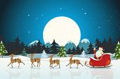 stock photo of snow-slide  - Illustration of a funny cartoon santa claus character driving the christmas sleigh with his reindeer running on the winter snow - JPG
