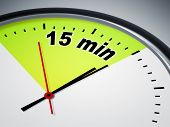 picture of count down  - An illustration of a clock with the words 15 min - JPG