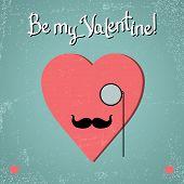 Постер, плакат: Валентина карта с очки сердца и усы