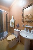 stock photo of shower-cubicle  - Bathroom with a shower cubicle in flat - JPG