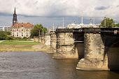 Cityscape With The Augustus Bridge Over Elbe River In Dresden, Germany