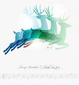 image of deer family  - Contemporary Merry Christmas jumping deers transparency background - JPG