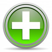 emergency green glossy icon on white background