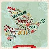 Vintage Happy New Year 2013 Peace Dove