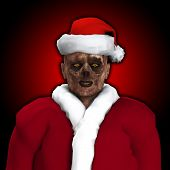 stock photo of festering  - A Zombie dressed up as Santa Claus - JPG