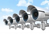 stock photo of cctv  - 3d cctv and sky background - JPG
