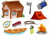 picture of movable  - illustration of various objects of camping on a white background - JPG