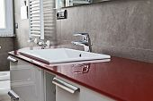 image of lavabo  - Red bathroom with toilette bidet heater lavabo and mirror - JPG