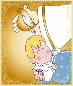 image of baptism  - illustration of baptism of a boy baby - JPG
