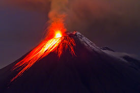 pic of magma  - eruption of the volcano with molten lava flowing on the slopes - JPG