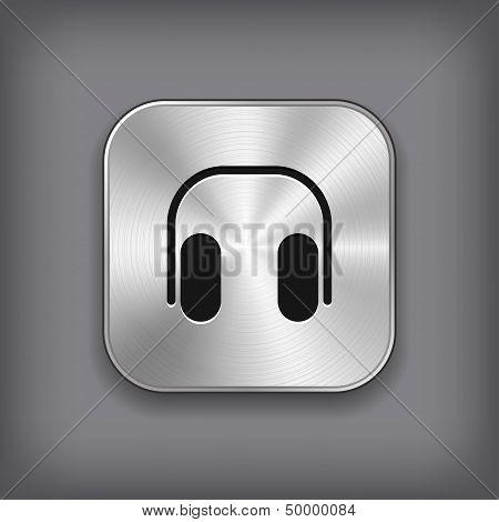 Headphones Icon - Vector Metal App Button