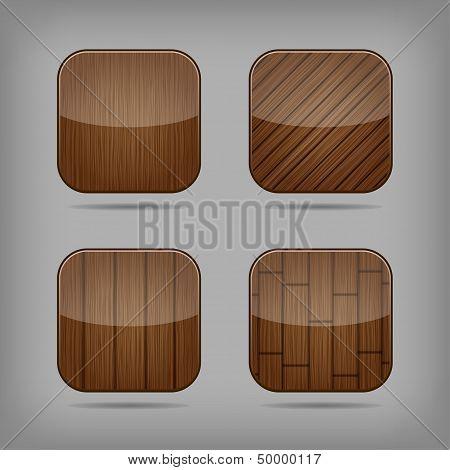 Vector Wooden Buttons Set
