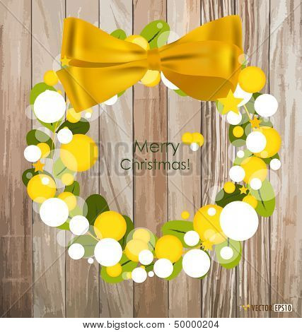 Merry Christmas Greeting Card on wood background, vector illustration.