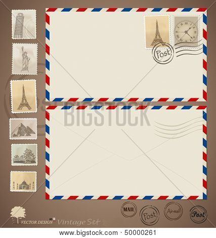 Vintage envelope designs and stamps. Vector illustration.