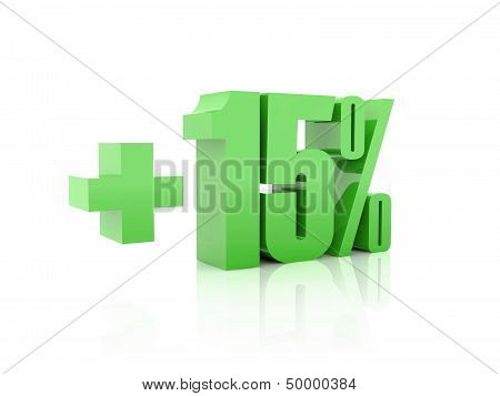 Plus 15 percent. Over white background. Concept 3D illustration.