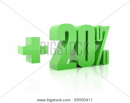 Plus 20 percent. Over white background. Concept 3D illustration.